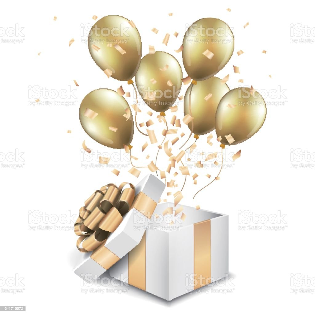 open gold box with balloons