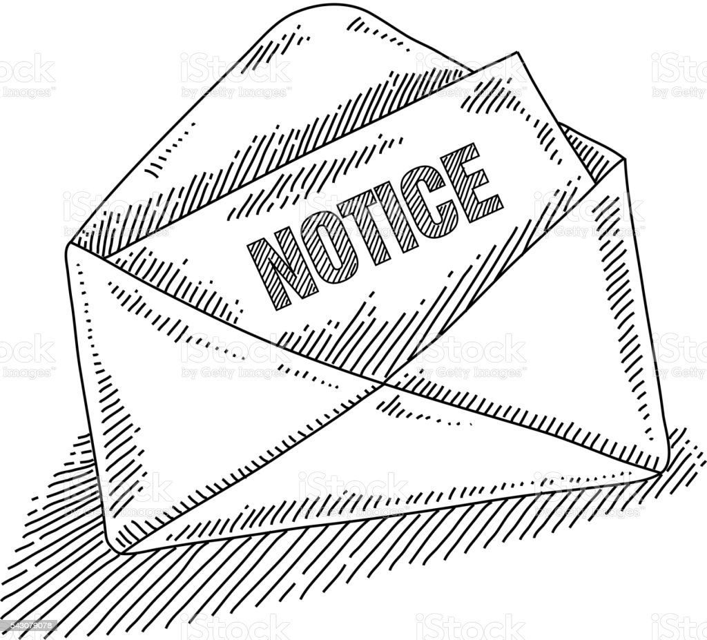 Opened Envelop With Notice Letter Drawing 일러스트 543079078