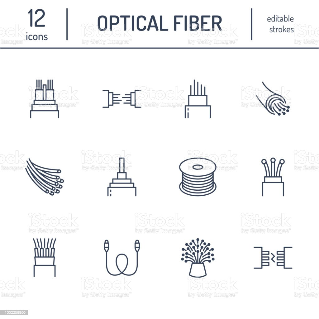 Optical Fiber Flat Line Icons Network Connection Computer