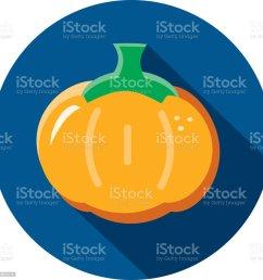 orange pumpkin vegetables flat design themed icon with shadow illustration  [ 1024 x 1024 Pixel ]