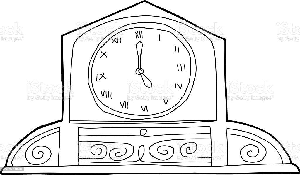 Ornate Mantle Clock Outline Stock Vector Art & More Images