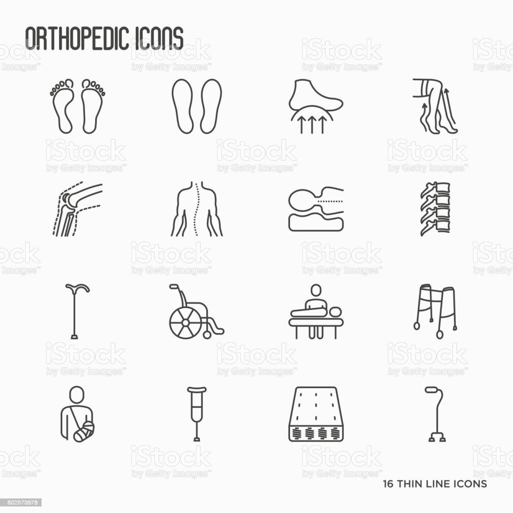 Orthopedic And Trauma Rehabilitation Thin Line Icons For