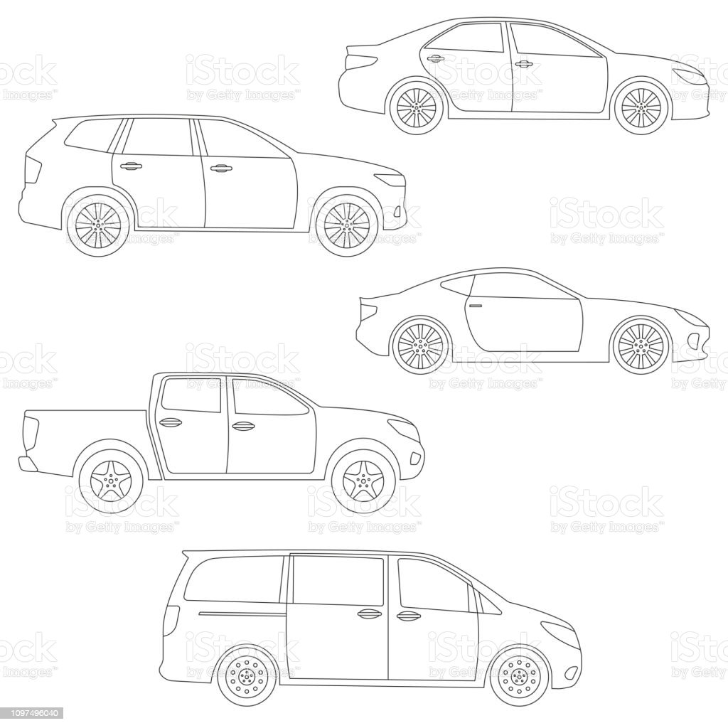 Outline Cars Set Side View Different Type Of Vehicles
