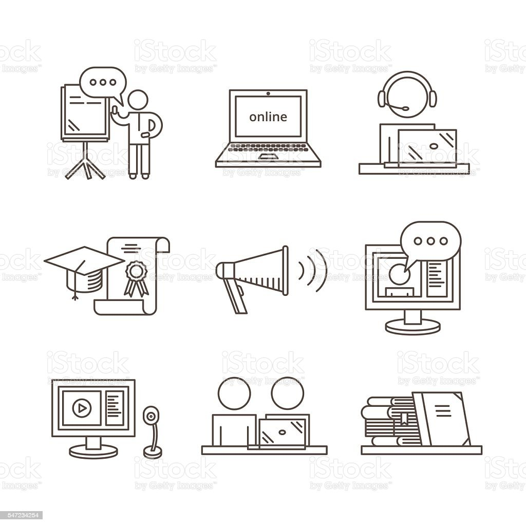 Outline Webinar Icon Set Online Training And Seminar