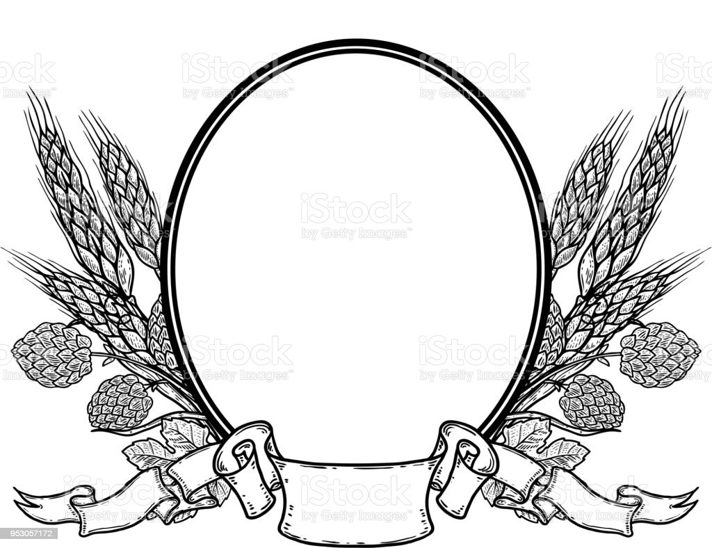 Oval Frame With Hand Drawn Hop And Wheat. Beer Label Template. Royalty-Free