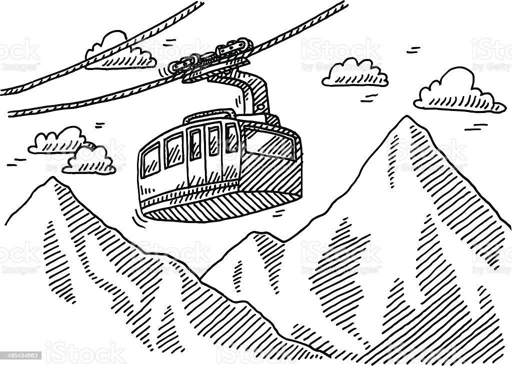 Overhead Cable Car Mountains Drawing Stock Vector Art