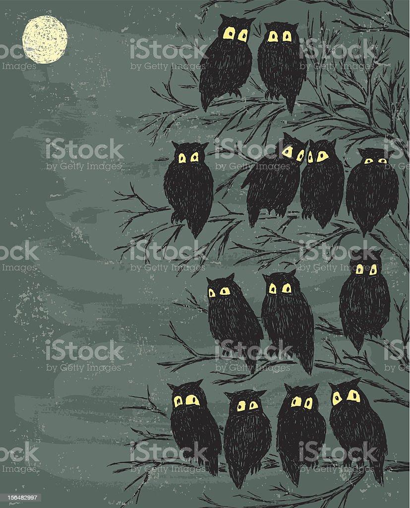 Flock Of Owls : flock, Stock, Illustration, Download, Image, IStock