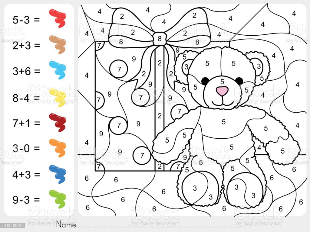 Paint Color By Numbers Addition And Subtraction Worksheet