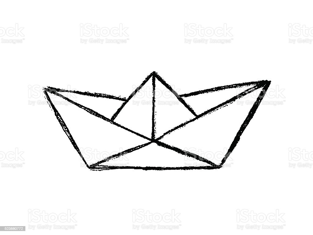 Paper Boat Sketch Stock Vector Art & More Images of