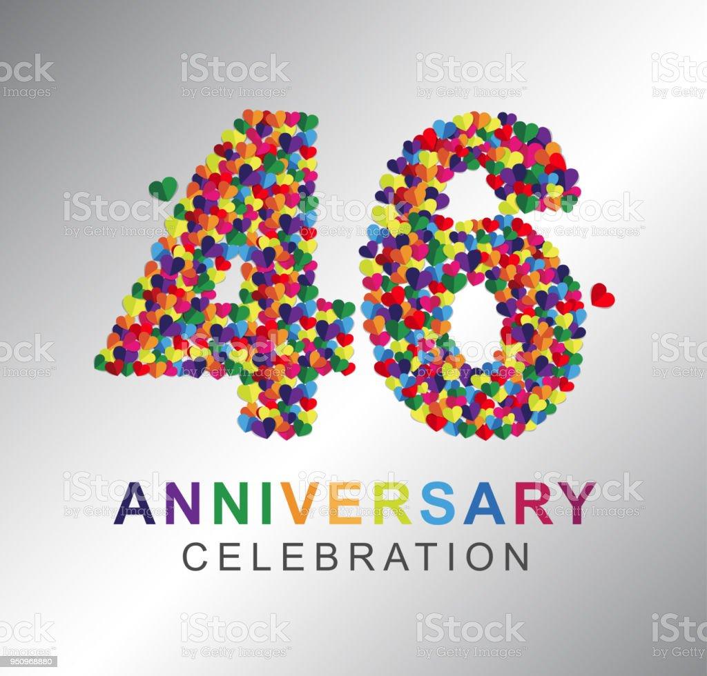 anniversaire de papier coeur 46 ans anniversaire de papier coeur 46 ans cliparts vectoriels et