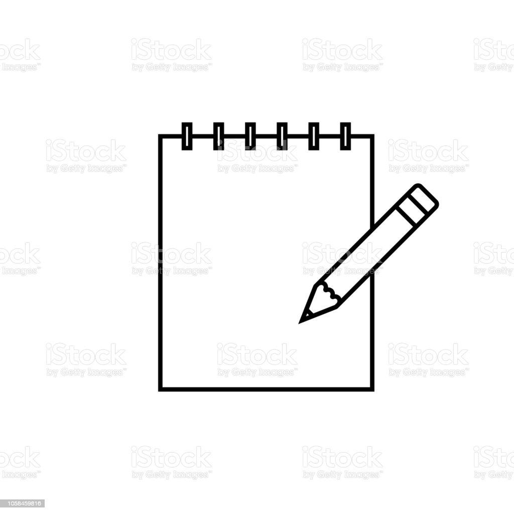 Papier Notebook Notizblock Stiftsymbol Linie Umriss Vektor