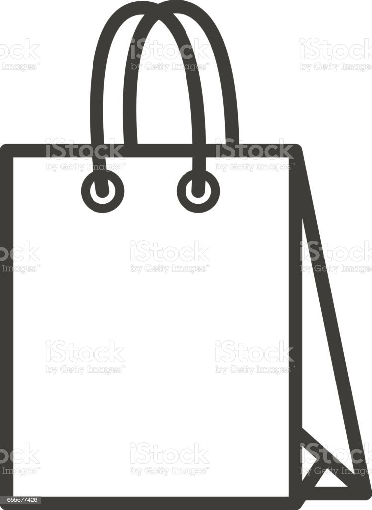 Paper Shopping Bag Linear Icon Filming Item Thin Line