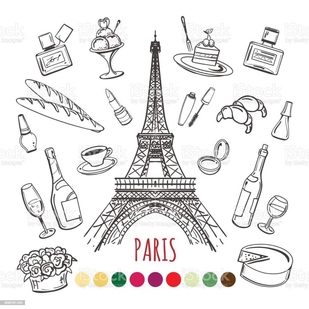 Paris Coloring Page With Color Swatches Stock Vector Art