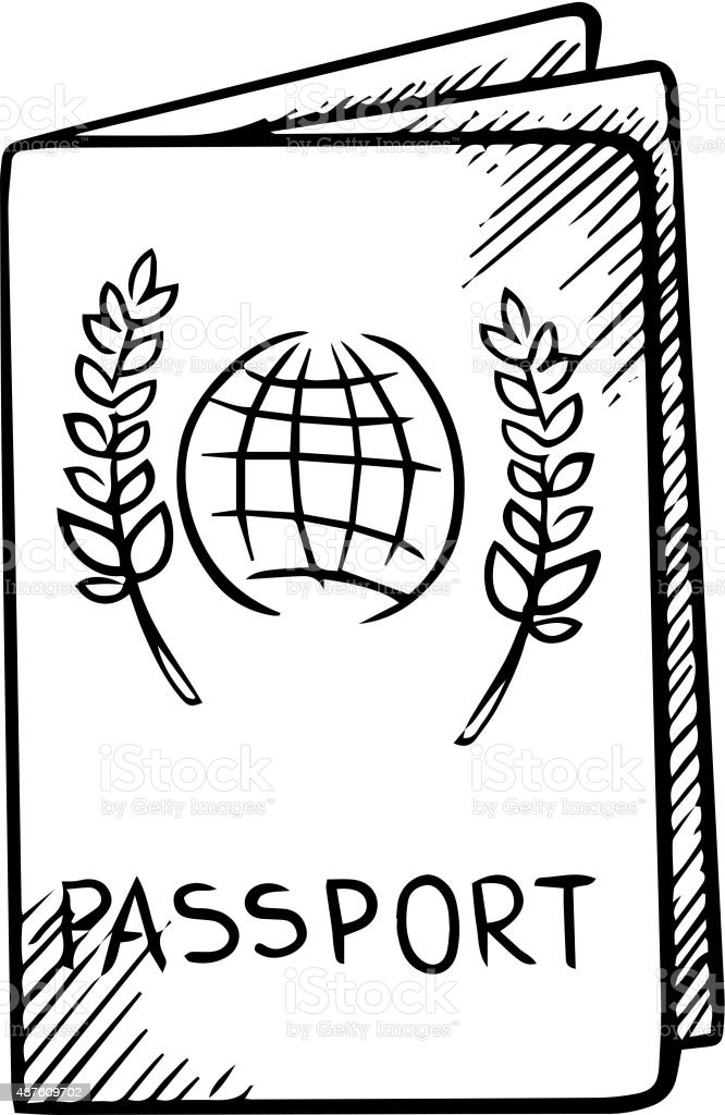 Passport Sketch With Globe On Cover Stock Vector Art