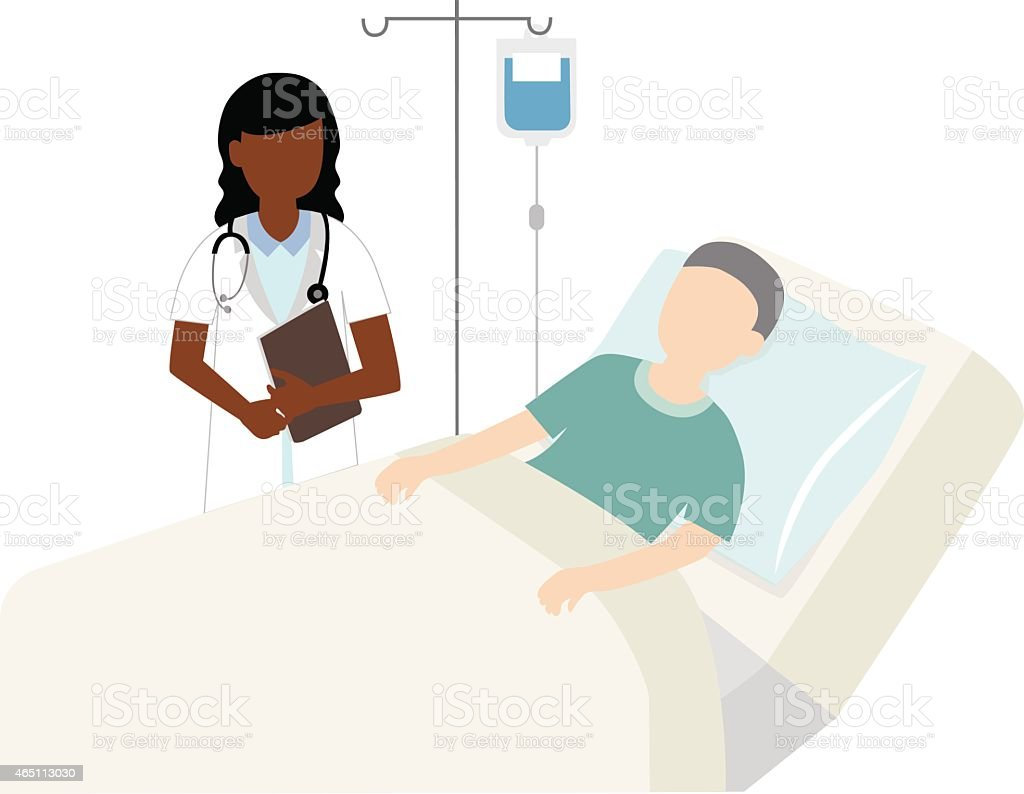 cartoon of sick person in bed