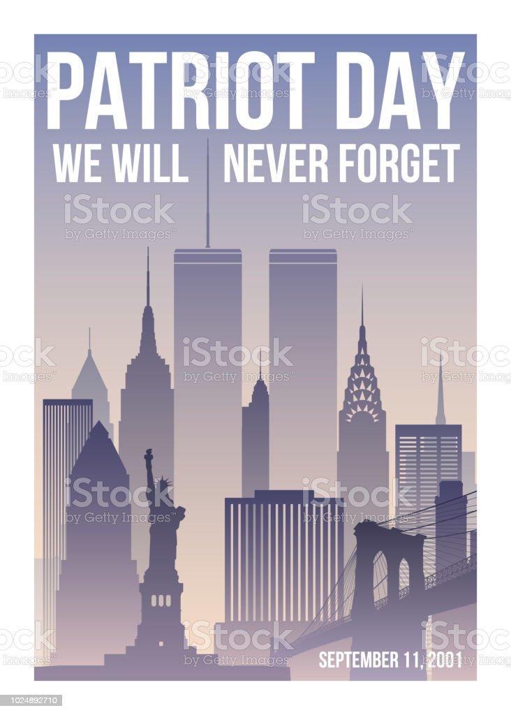 patriot tag poster mit new york skyline twin towers und satz werden wir nie vergessen usa patriot day banner 11 september 2001 world trade center vektordesignvorlage stock vektor art und mehr bilder