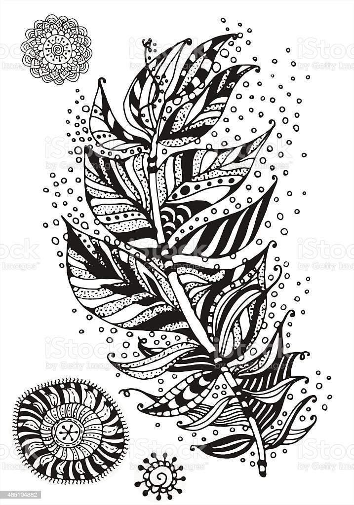 Pattern For Coloring Book Feather And Mandalas Stock
