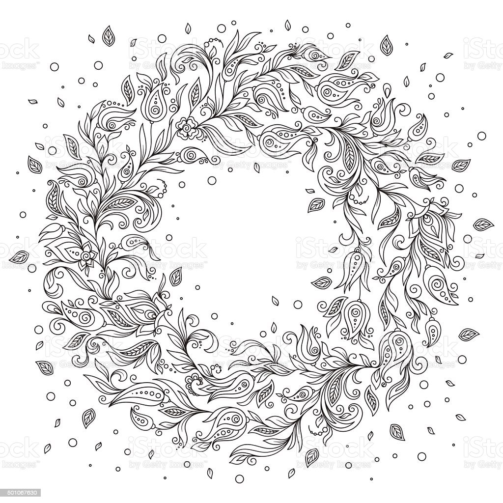 Pattern For Coloring Book Floral Doodle Vector Wreath