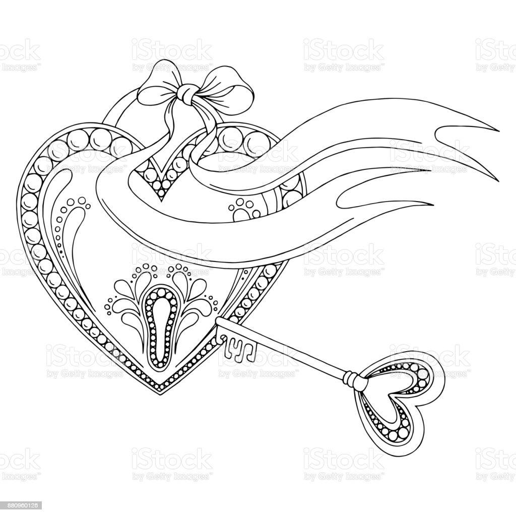 Pattern Heart Lock Key Doodle Black White Graphic Sketch