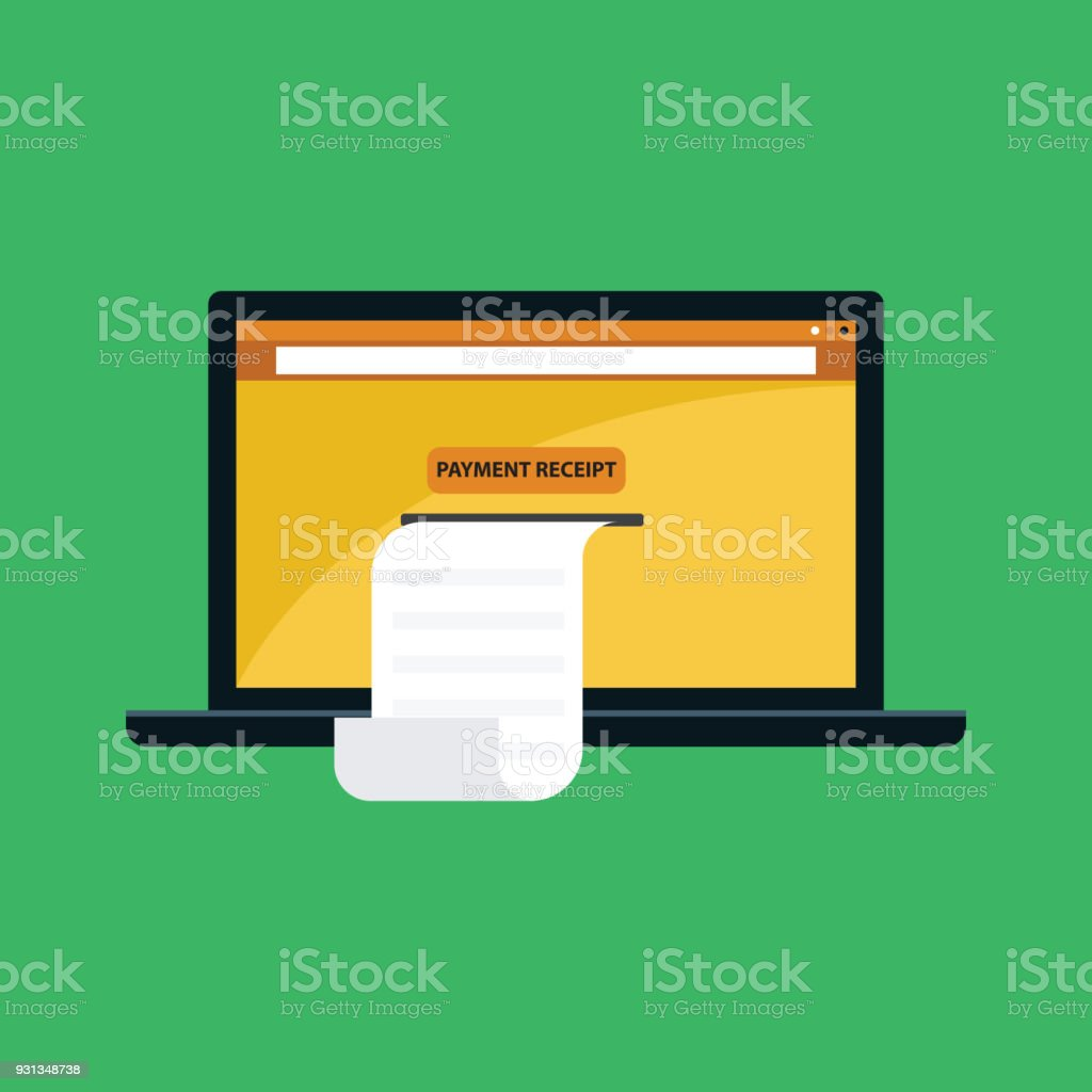 hight resolution of payment receipt with laptop illustration