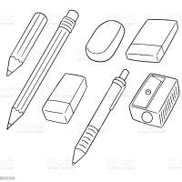 Pencil Eraser And Pencil Sharpener Stock Illustration ...