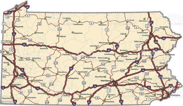 Pennsylvania Highway Map Stock Illustration Download
