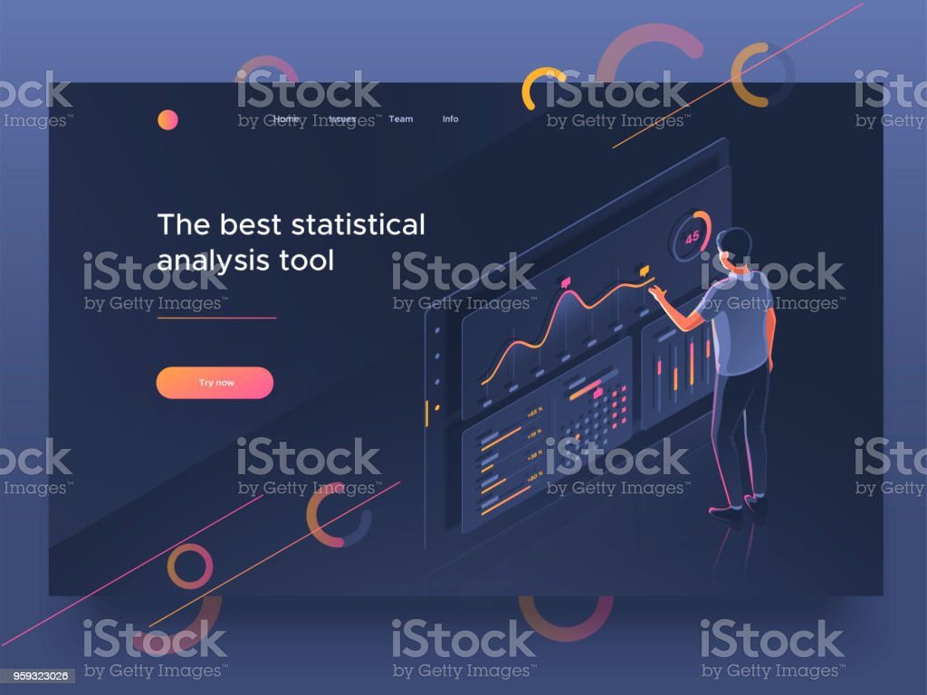 People Interacting With A Dashboard. Data Analysis, Statistics Collection.  Landing Page Template.