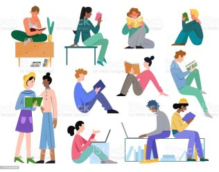 People Study Vector Illustration Set Cartoon Flat Active School Or University Student Collection With Young Man Woman Characters Read Book Do Homework Stock Illustration Download Image Now iStock