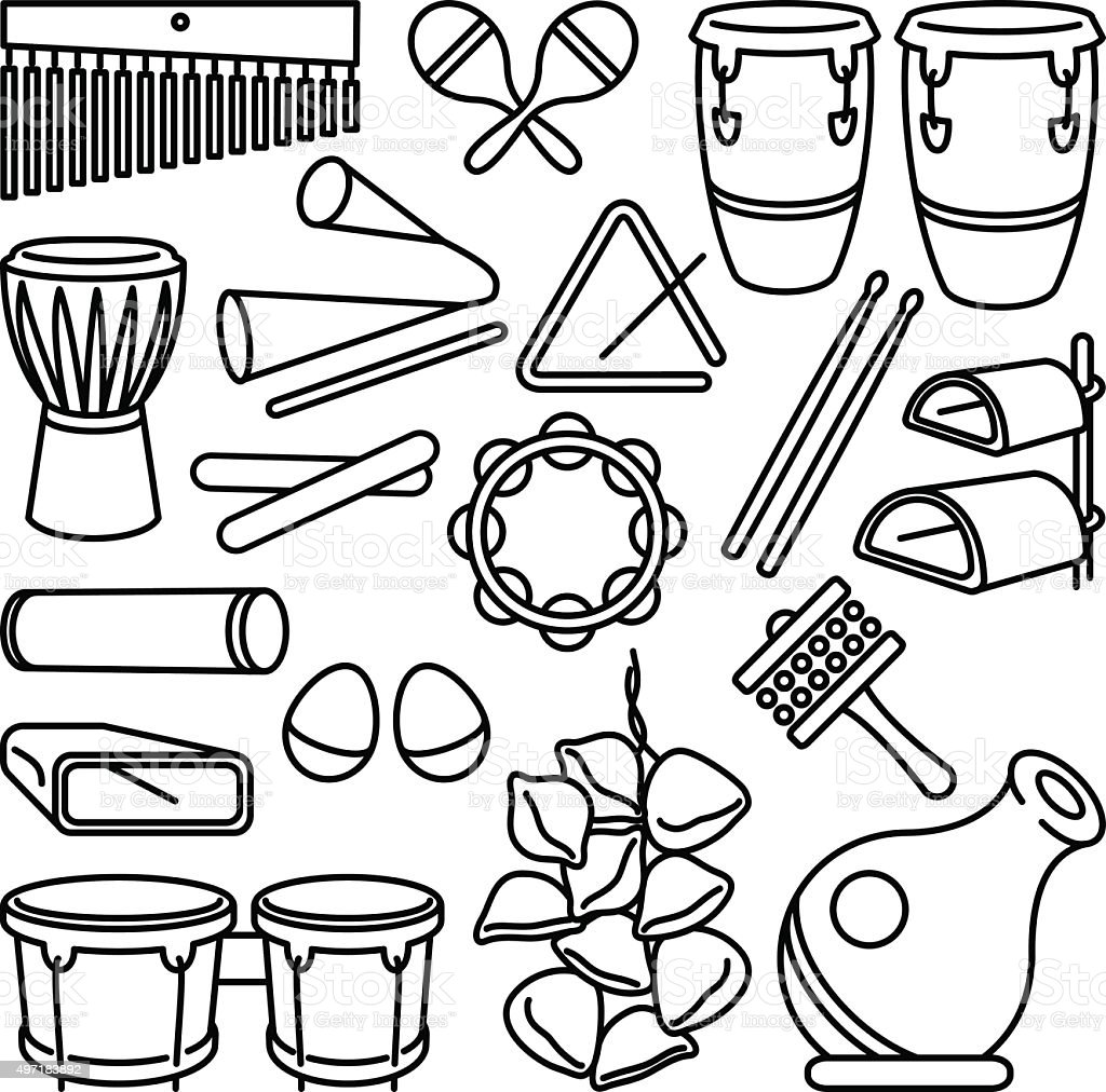Percussion Instruments Stock Vector Art & More Images of