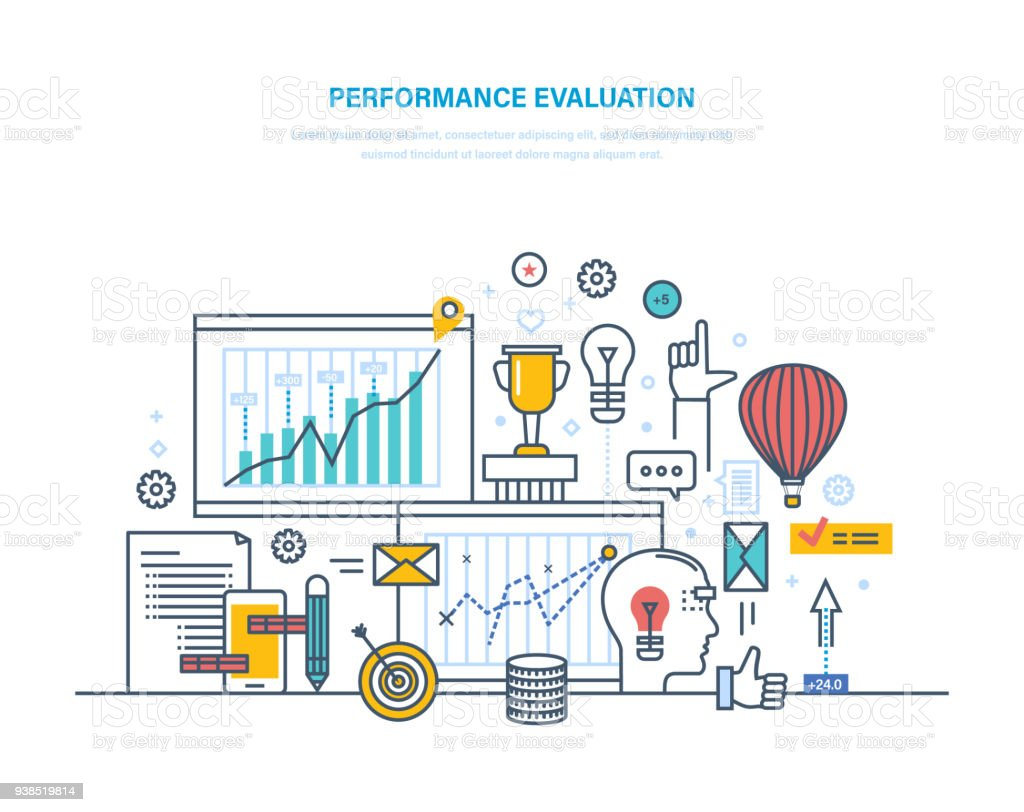 Performance Evaluation Working, Quality Control, Performance Productive,  Analysis Of Results Royalty-Free