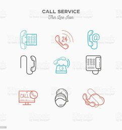 phone call service contact us thin line color icons set royalty free [ 1024 x 1024 Pixel ]