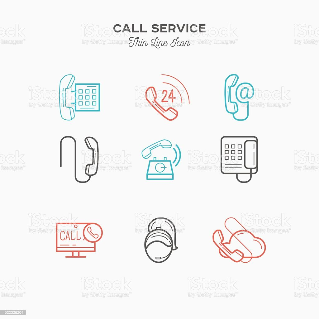 hight resolution of phone call service contact us thin line color icons set royalty free