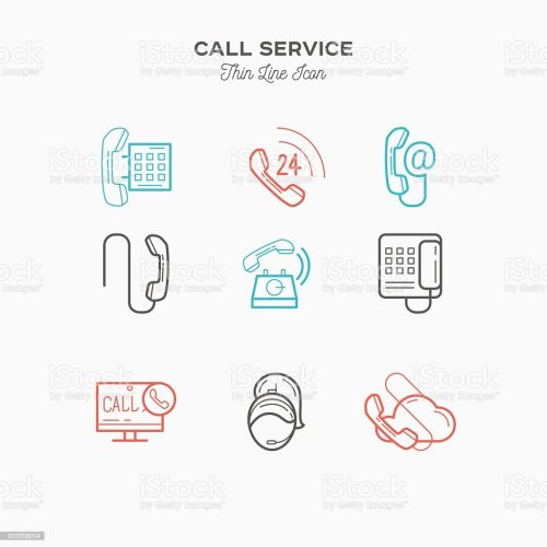 small resolution of phone call service contact us thin line color icons set royalty free