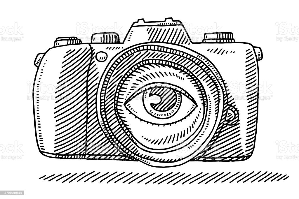 Photo Camera Eye On Lens Drawing Stock Vector Art & More