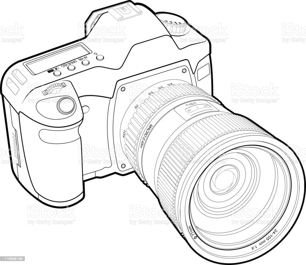 Photocamera Outline Stock Vector Art & More Images of