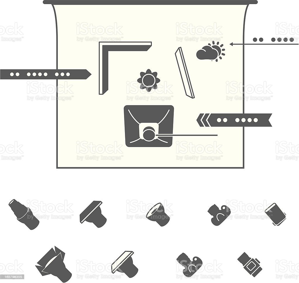 studio lighting diagram home inverter wiring photography equipment icons for diagrams stock