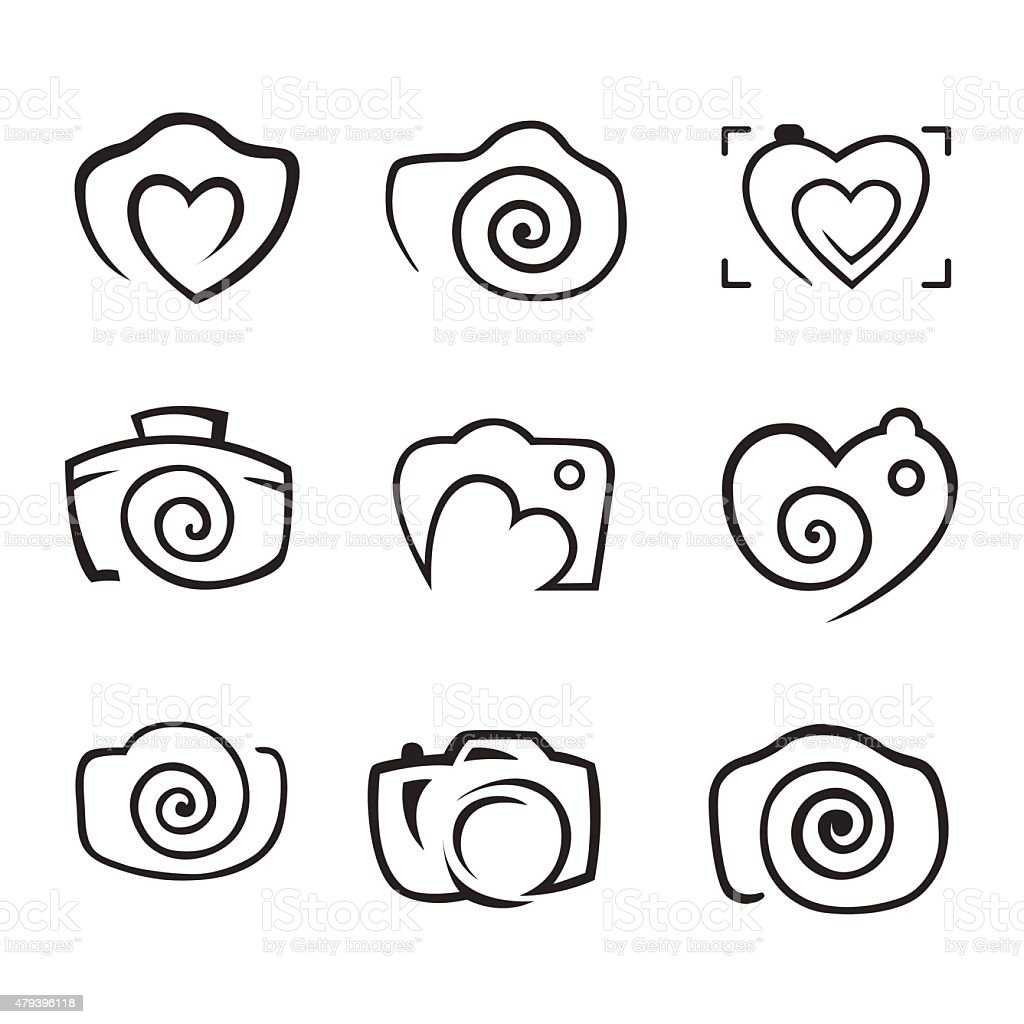 Photos Camera Logo Vector Set Trendy Hipster Camera Photo