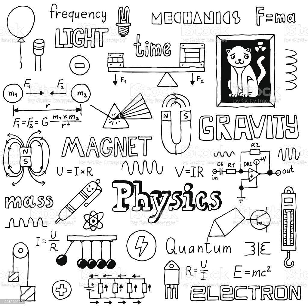 Physics Hand Drawn Vector Illustration Black And White