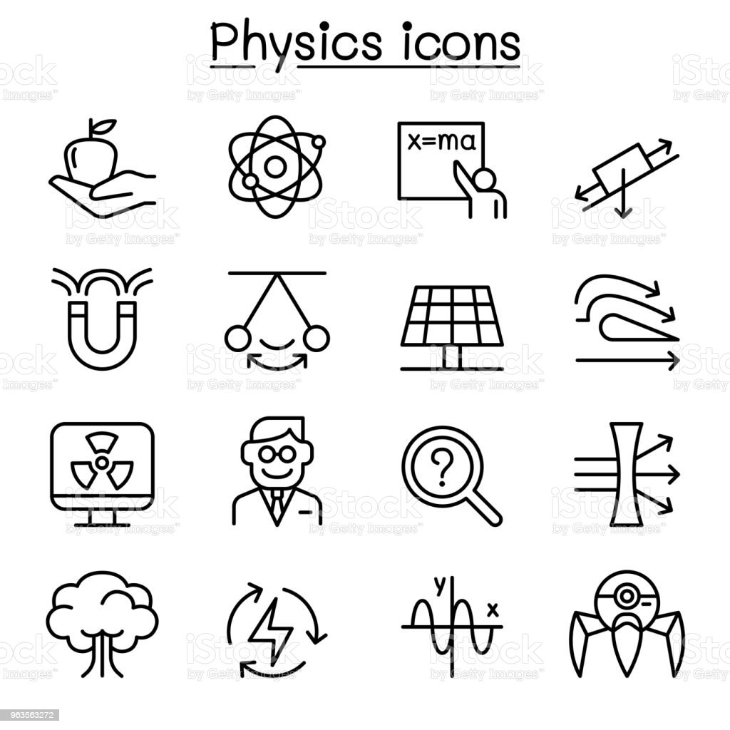 Physics Icon Set In Thin Line Style Stock Vector Art