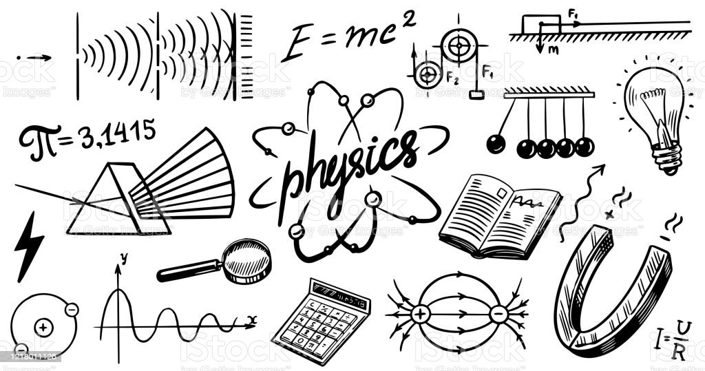 Physics Or Education Concept Icons And Formulas Set Atomic