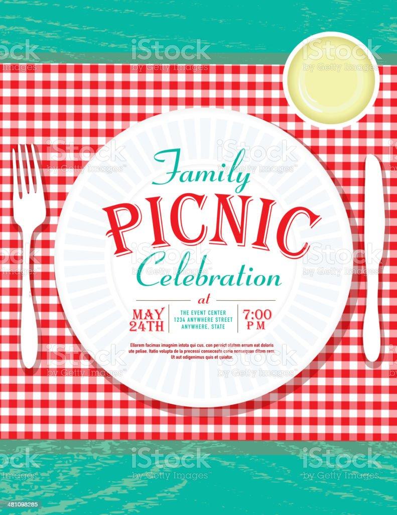Picnic Invitation Design Template With Plastic Cutlery And Paper ...