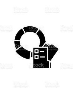 Pie chart   legend black icon concept flat vector symbol sign also charts rh istockphoto