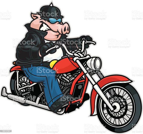 Cartoon Pig Riding a Motorcycle