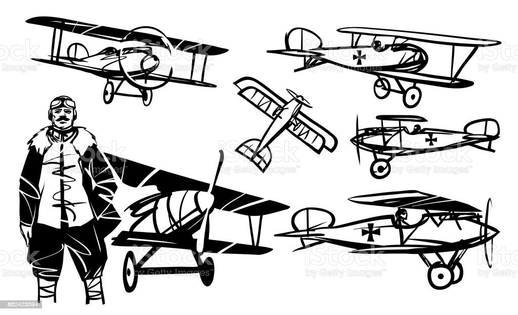 Pilot And Set Of Illustrations Albatros Diii Stock