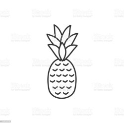 Pineapple Ananas Line Icon With Editable Stroke Simple Outline Design Tropical Fruit Food Symbol Vector Illustration Stock Illustration Download Image Now iStock