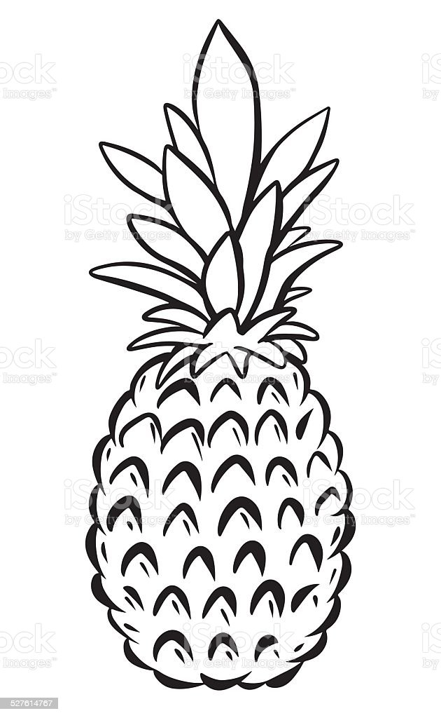 Cute Ukulele Wallpaper Pineapple Black Sketch Cartoon Hand Drawn Illustration