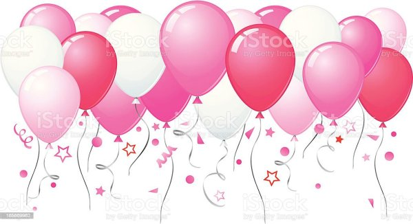 pink balloons flying stock illustration