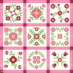 quilt patchwork flower pink blocks applique vector illustration istock illustrations abstract cartoons