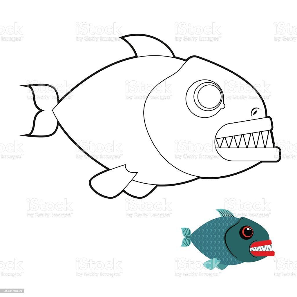 Piranha Libro Da Colorare Terribile Mare Di Pesci Con