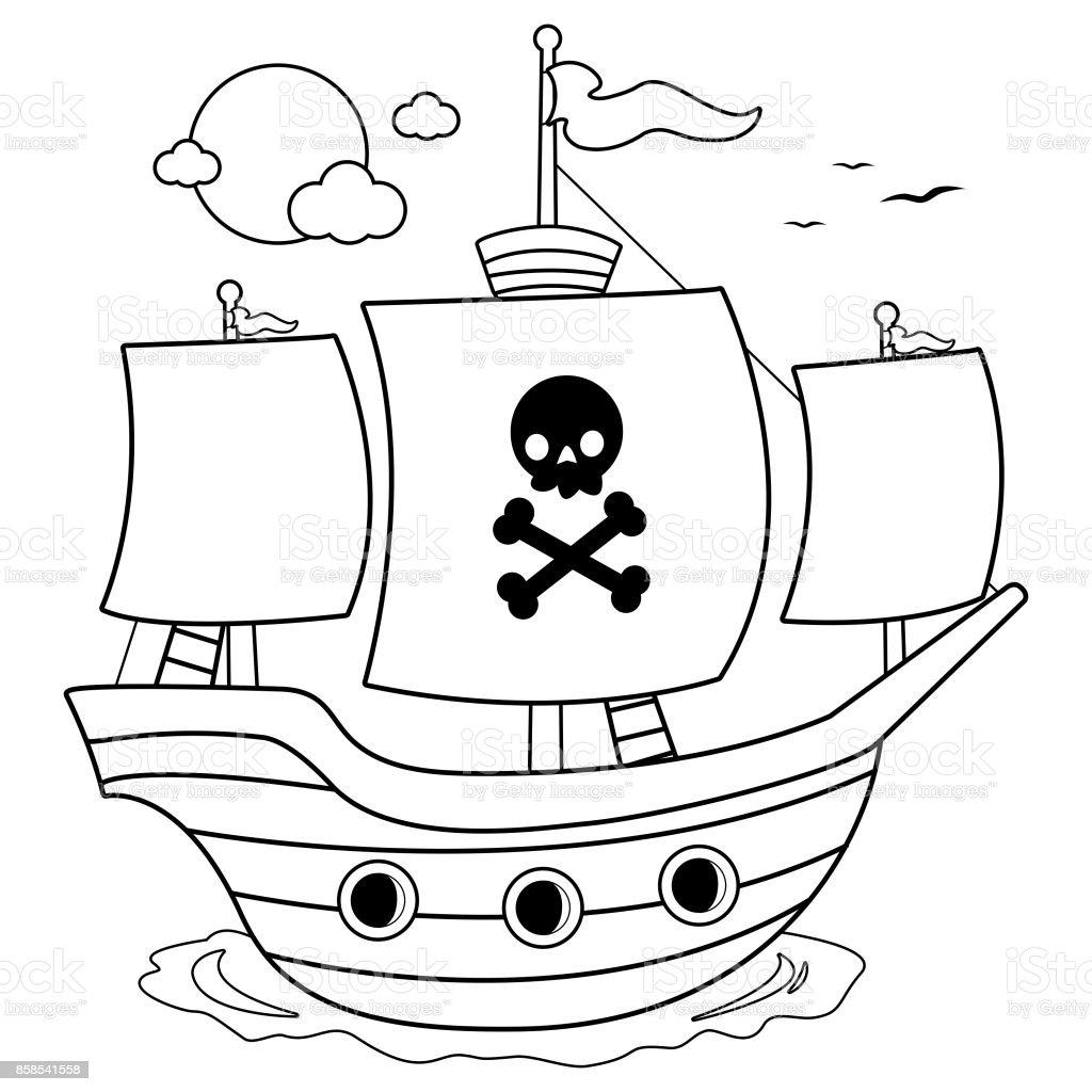 Piratenschiff Schwarz Weiß Färben Buchseite Stock Vektor